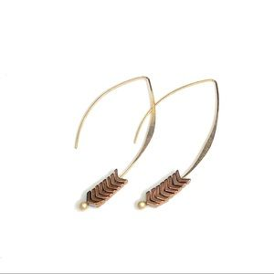 Gold Hoop Drop Fashion Earrings with Bronze Stones